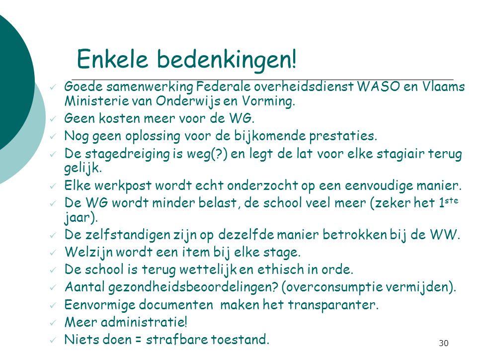 4-4-2017 Enkele bedenkingen! Goede samenwerking Federale overheidsdienst WASO en Vlaams Ministerie van Onderwijs en Vorming.