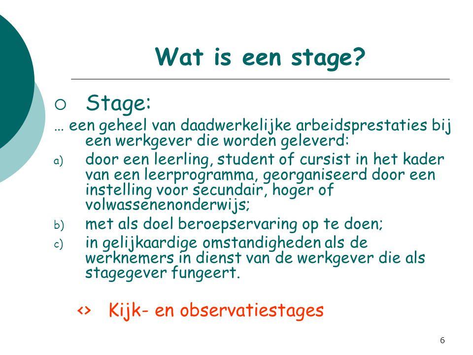 Wat is een stage Stage: <> Kijk- en observatiestages