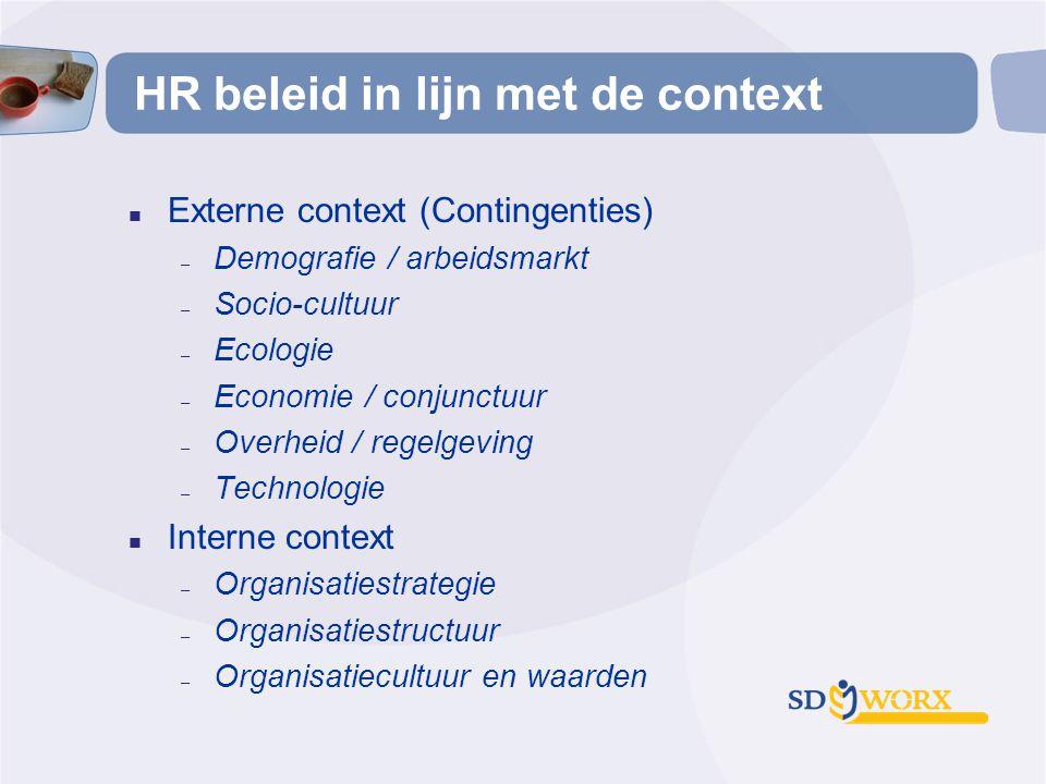 HR beleid in lijn met de context