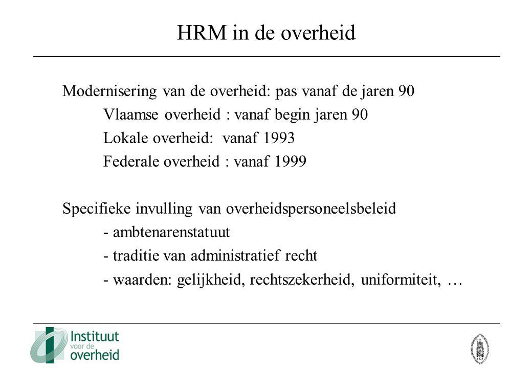 HRM in de overheid Modernisering van de overheid: pas vanaf de jaren 90. Vlaamse overheid : vanaf begin jaren 90.