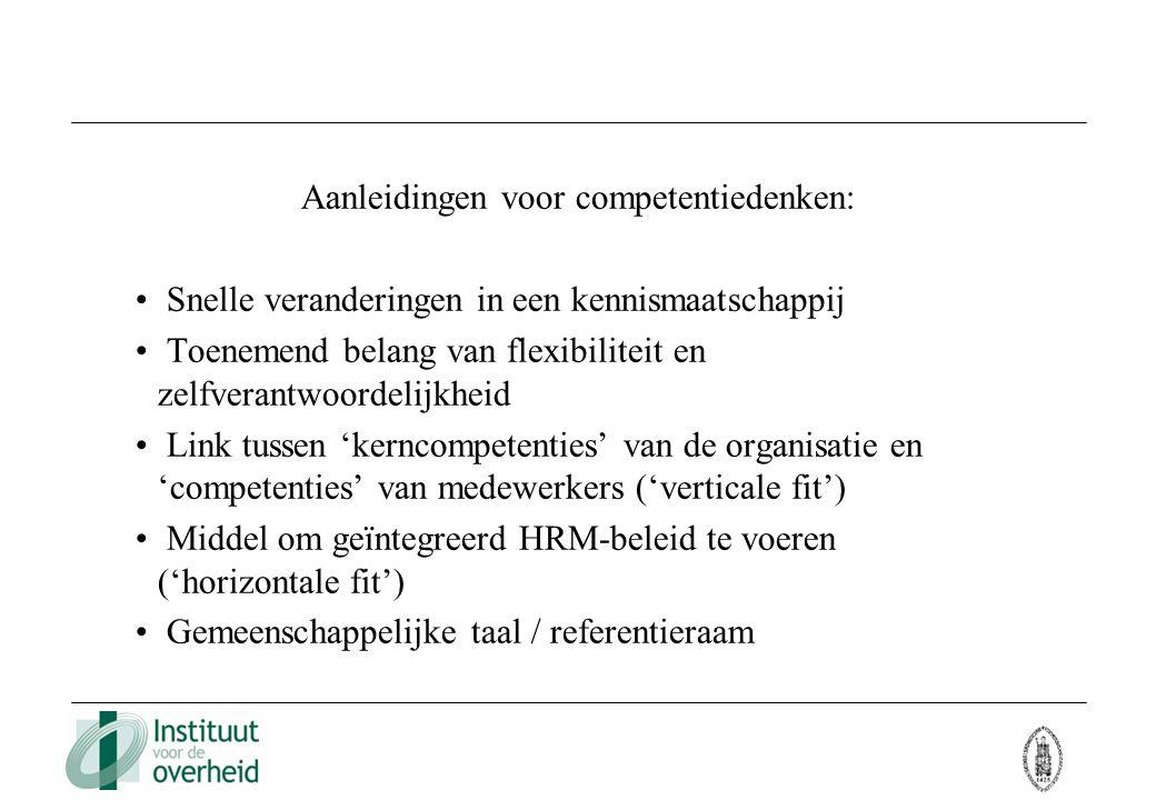 Aanleidingen voor competentiedenken: