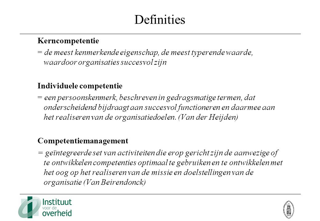 Definities Kerncompetentie