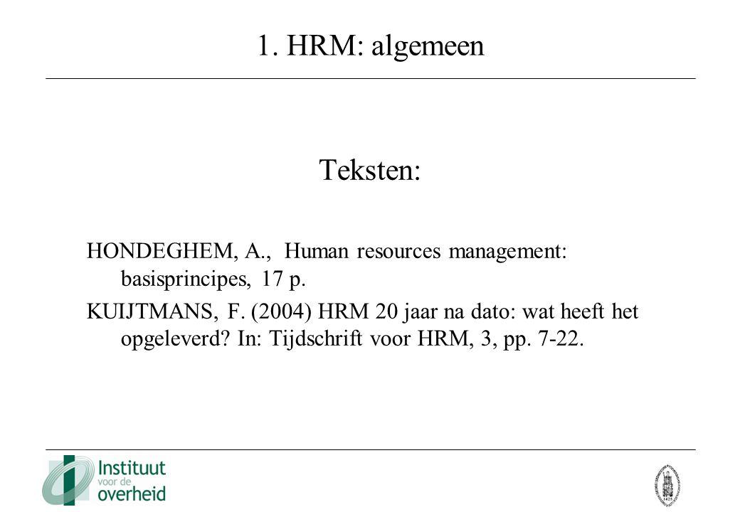 1. HRM: algemeen Teksten: