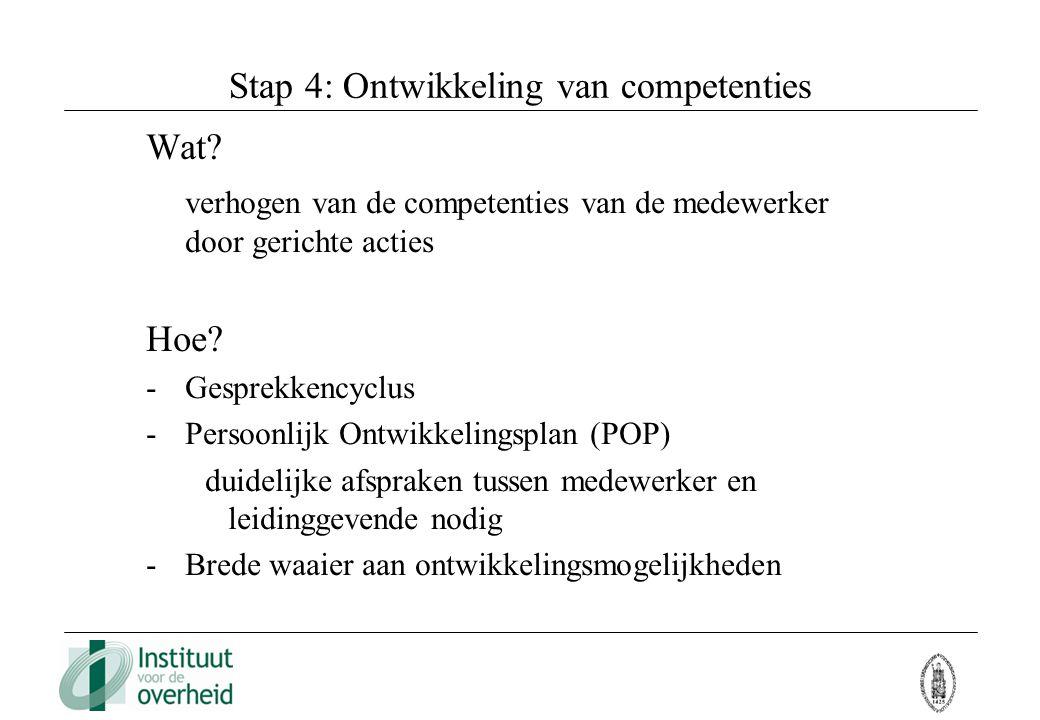 Stap 4: Ontwikkeling van competenties