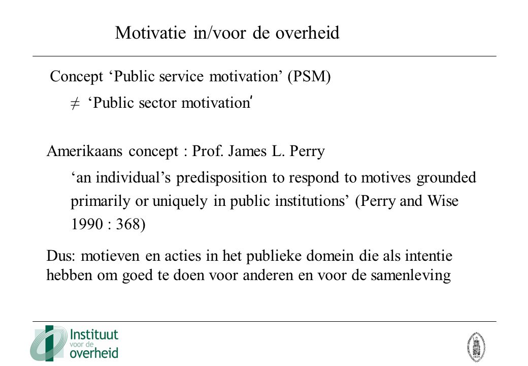 Motivatie in/voor de overheid