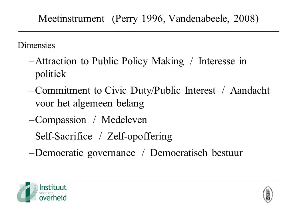 Meetinstrument (Perry 1996, Vandenabeele, 2008)