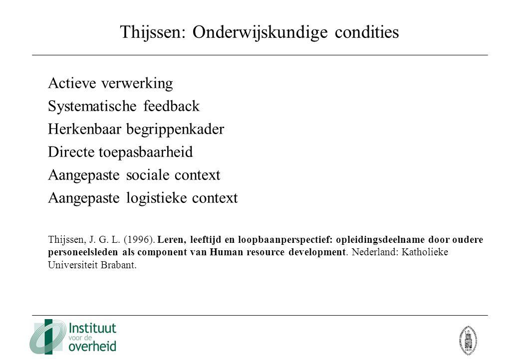 Thijssen: Onderwijskundige condities