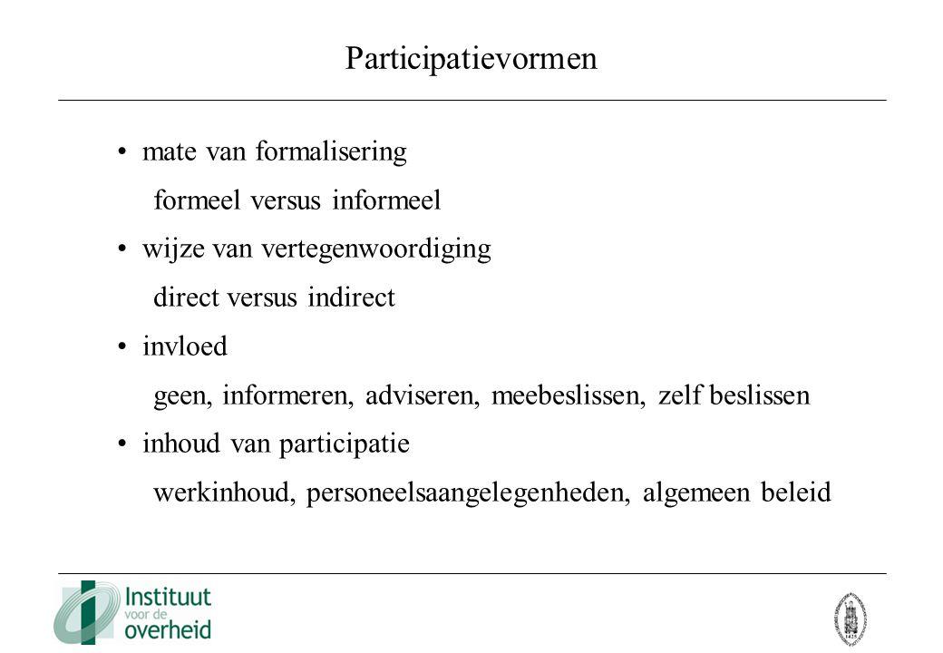Participatievormen mate van formalisering formeel versus informeel