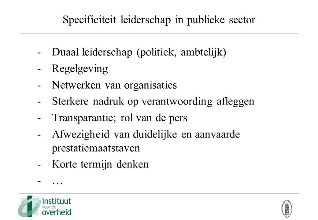 Specificiteit leiderschap in publieke sector