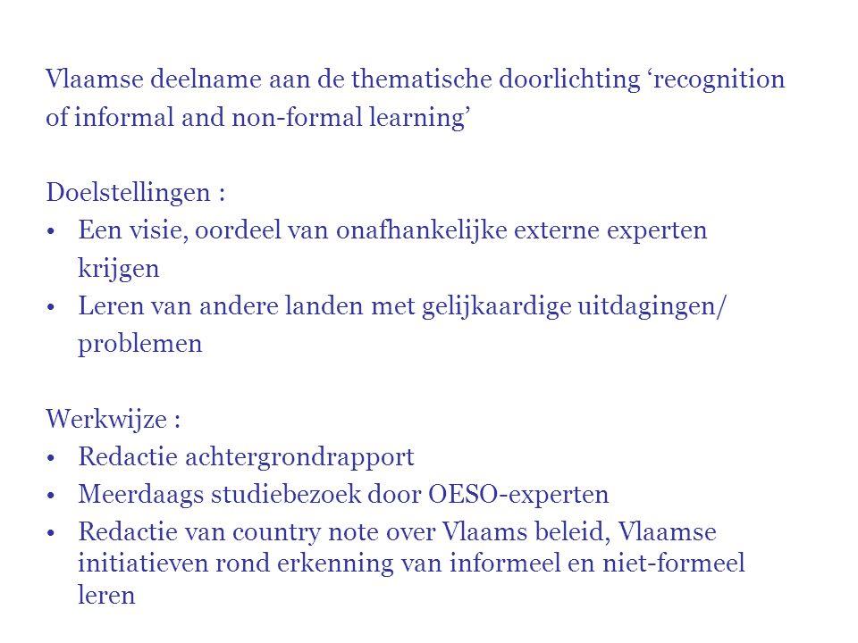 Vlaamse deelname aan de thematische doorlichting 'recognition