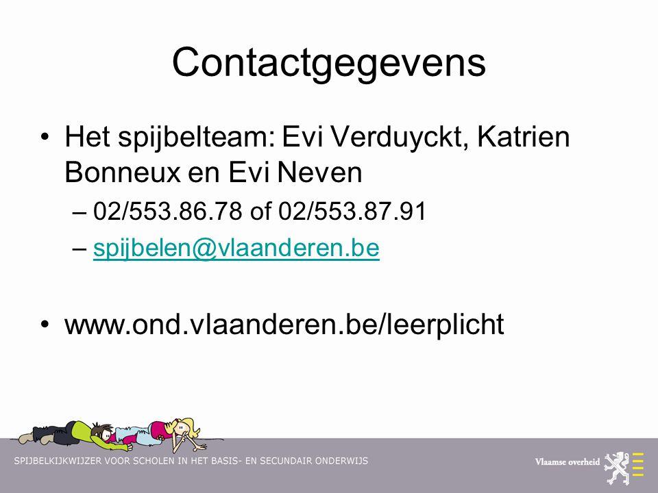 Contactgegevens Het spijbelteam: Evi Verduyckt, Katrien Bonneux en Evi Neven. 02/553.86.78 of 02/553.87.91.
