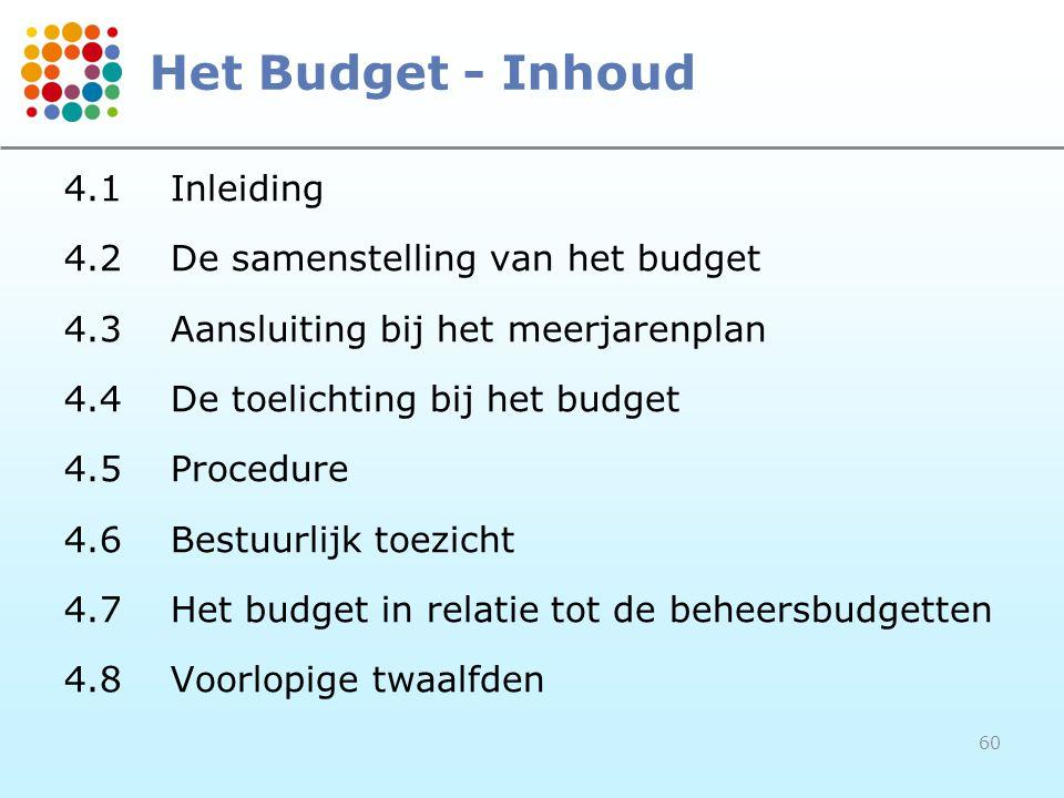 Het Budget - Inhoud 4.1 Inleiding 4.2 De samenstelling van het budget