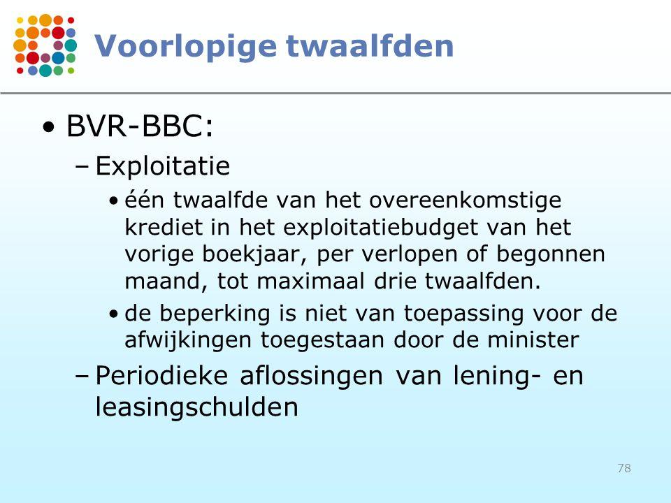 Voorlopige twaalfden BVR-BBC: Exploitatie