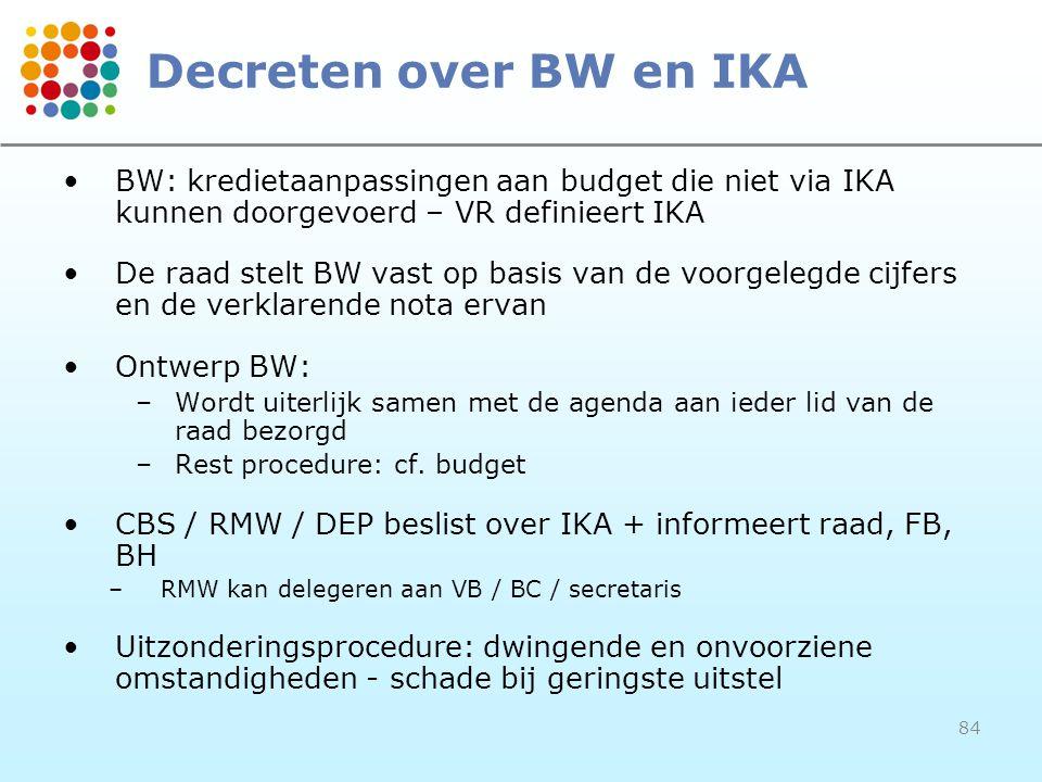 Decreten over BW en IKA BW: kredietaanpassingen aan budget die niet via IKA kunnen doorgevoerd – VR definieert IKA.