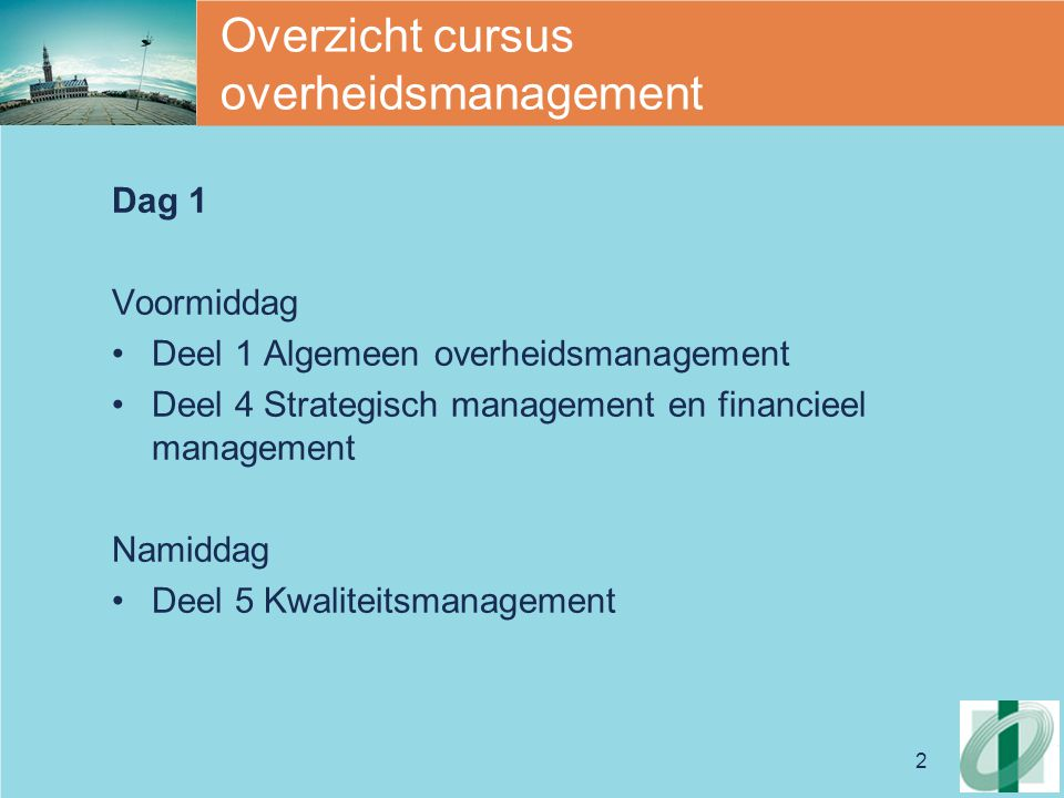 Overzicht cursus overheidsmanagement