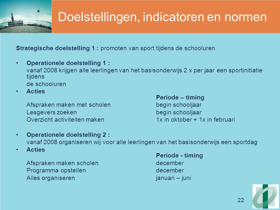 Doelstellingen, indicatoren en normen