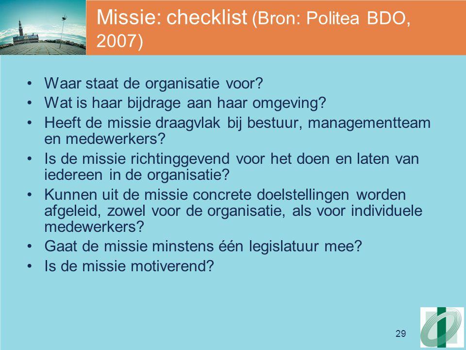 Missie: checklist (Bron: Politea BDO, 2007)