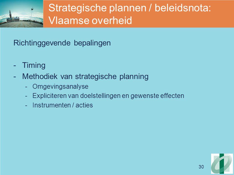 Strategische plannen / beleidsnota: Vlaamse overheid