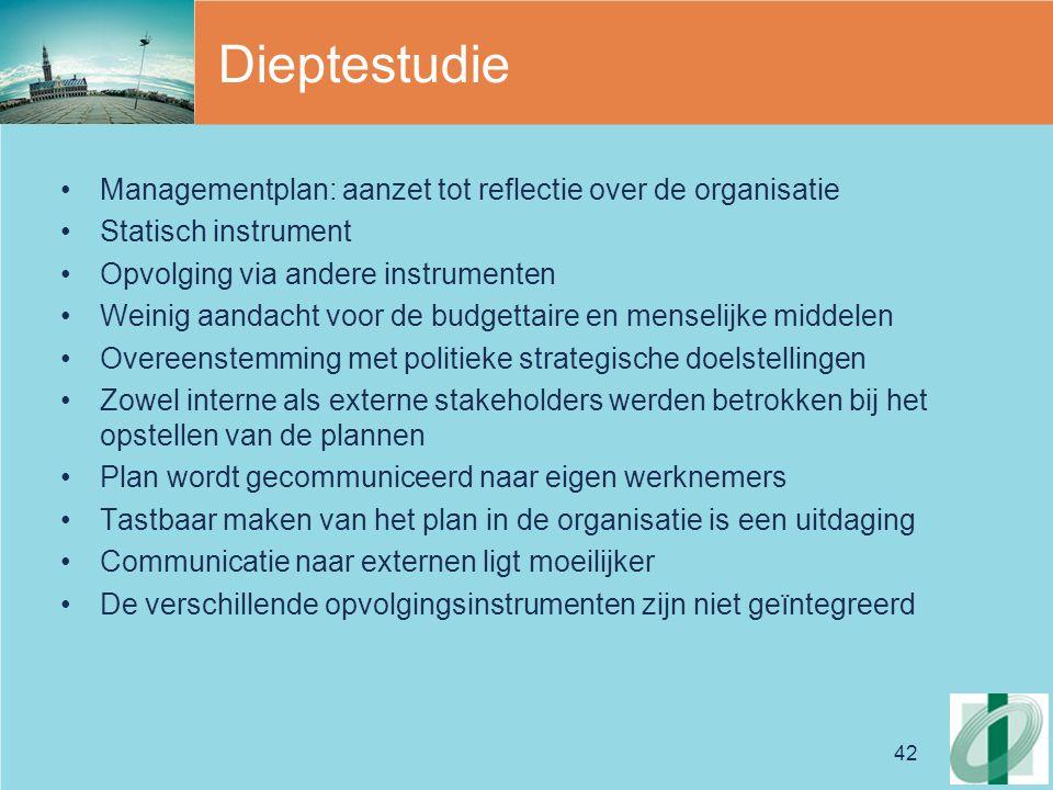 Dieptestudie Managementplan: aanzet tot reflectie over de organisatie
