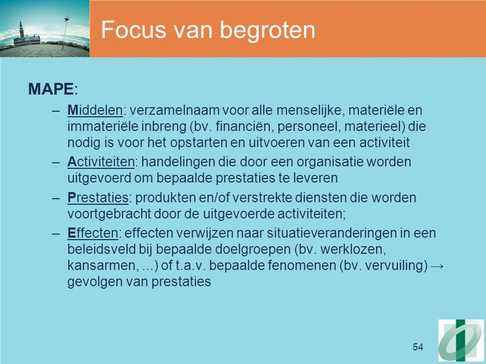 Focus van begroten MAPE: