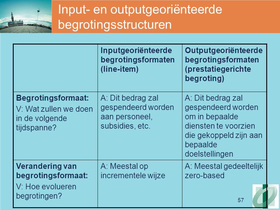 Input- en outputgeoriënteerde begrotingsstructuren