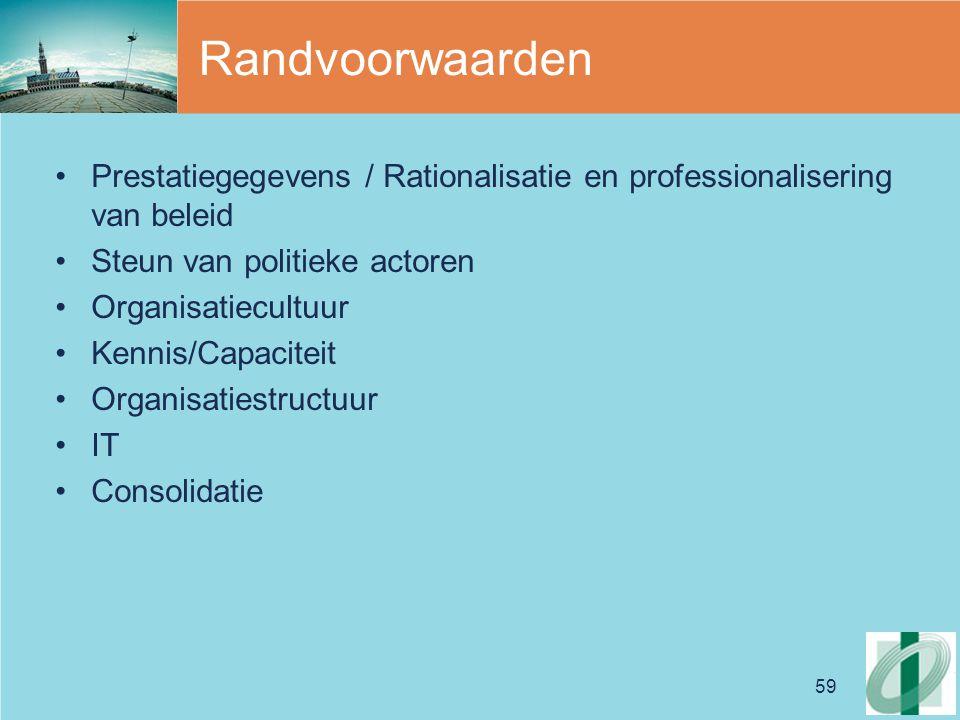 Randvoorwaarden Prestatiegegevens / Rationalisatie en professionalisering van beleid. Steun van politieke actoren.