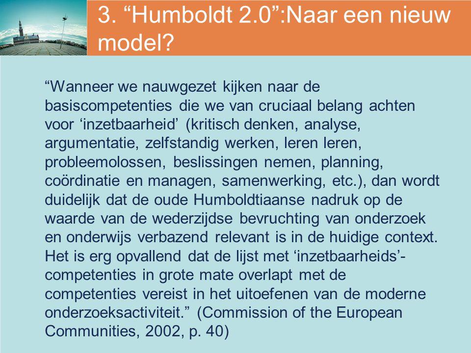 3. Humboldt 2.0 :Naar een nieuw model