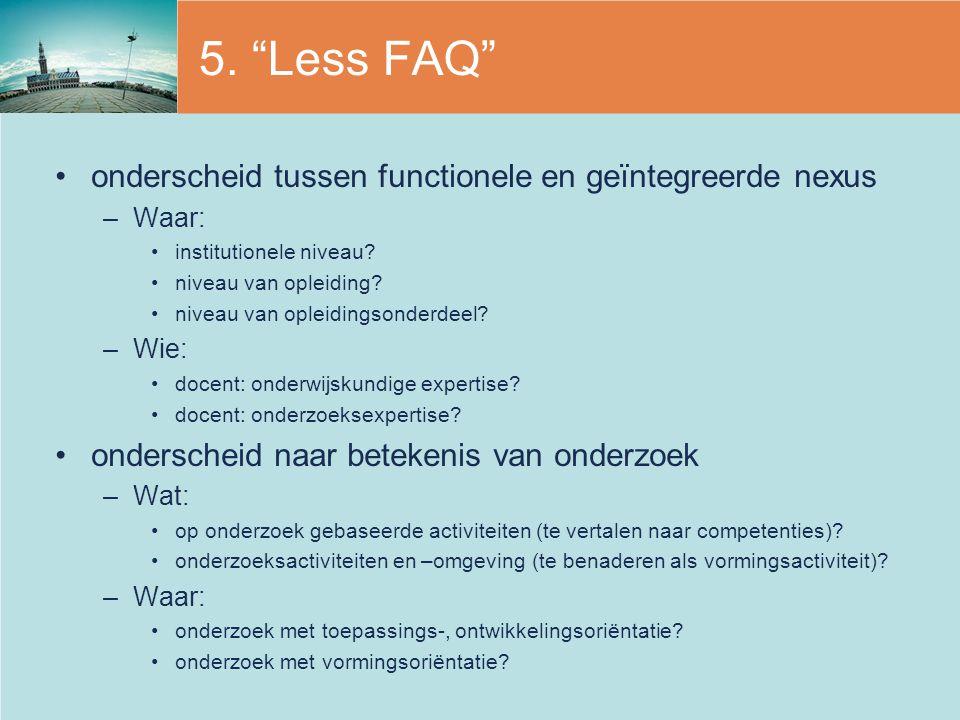 5. Less FAQ onderscheid tussen functionele en geïntegreerde nexus