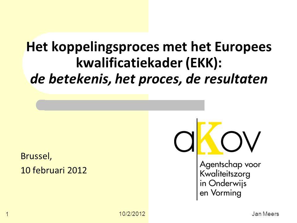 Het koppelingsproces met het Europees kwalificatiekader (EKK): de betekenis, het proces, de resultaten