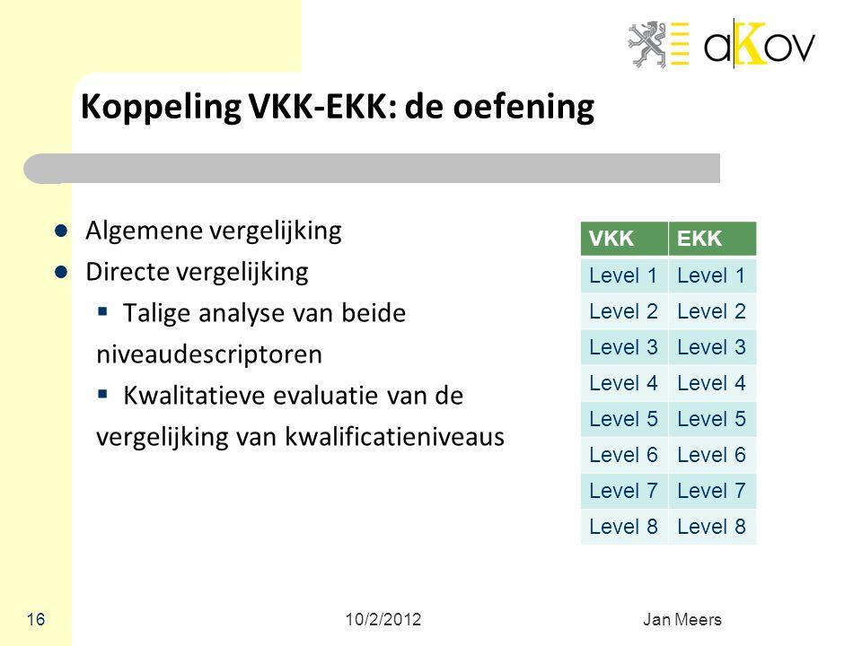 Koppeling VKK-EKK: de oefening