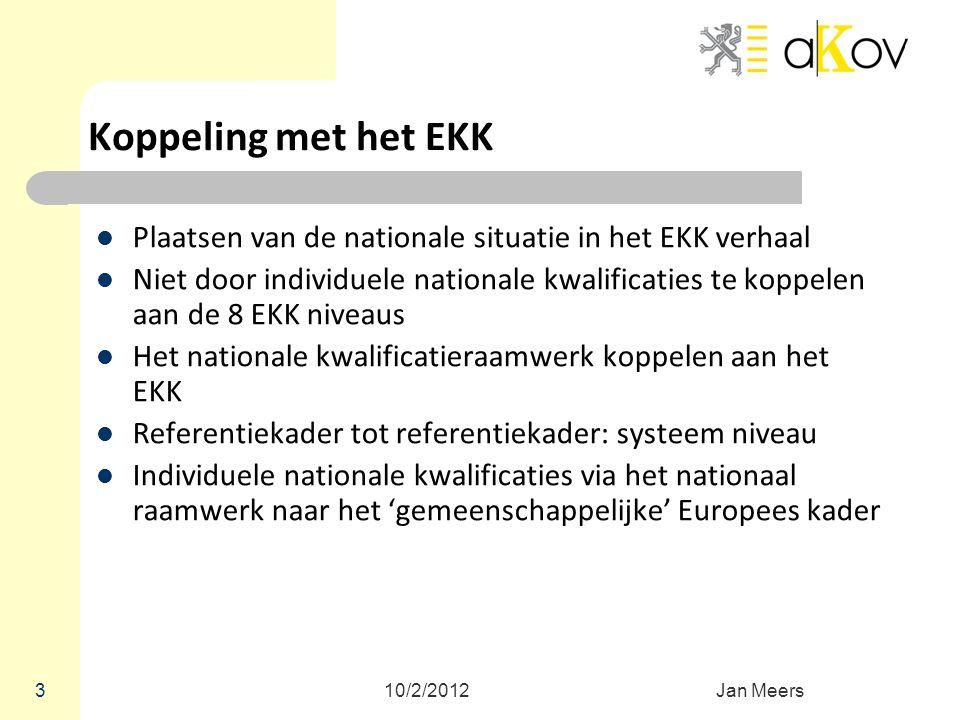 Koppeling met het EKK Plaatsen van de nationale situatie in het EKK verhaal.