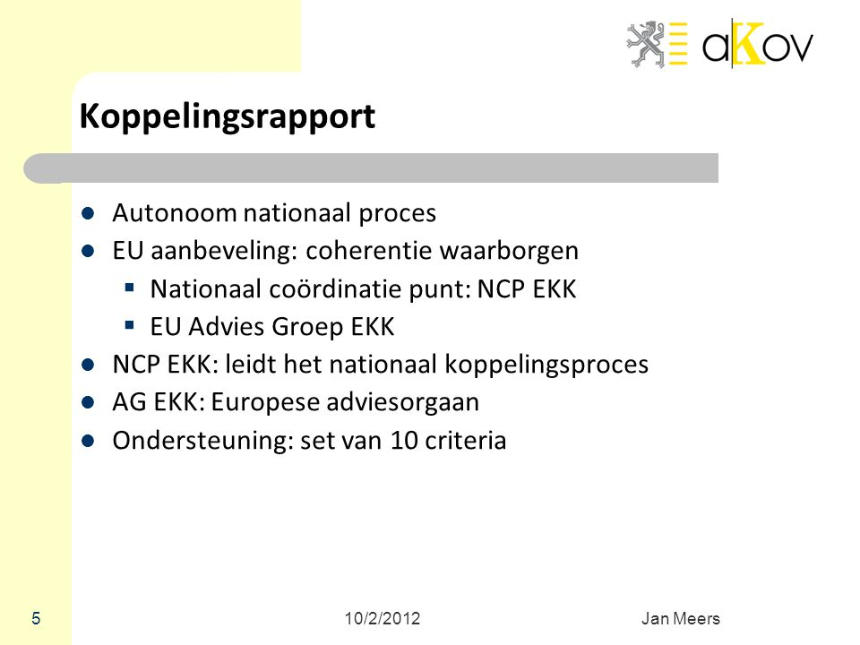 Koppelingsrapport Autonoom nationaal proces