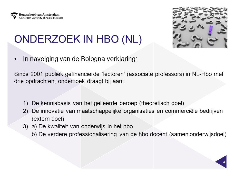 Onderzoek in HBO (NL) In navolging van de Bologna verklaring:
