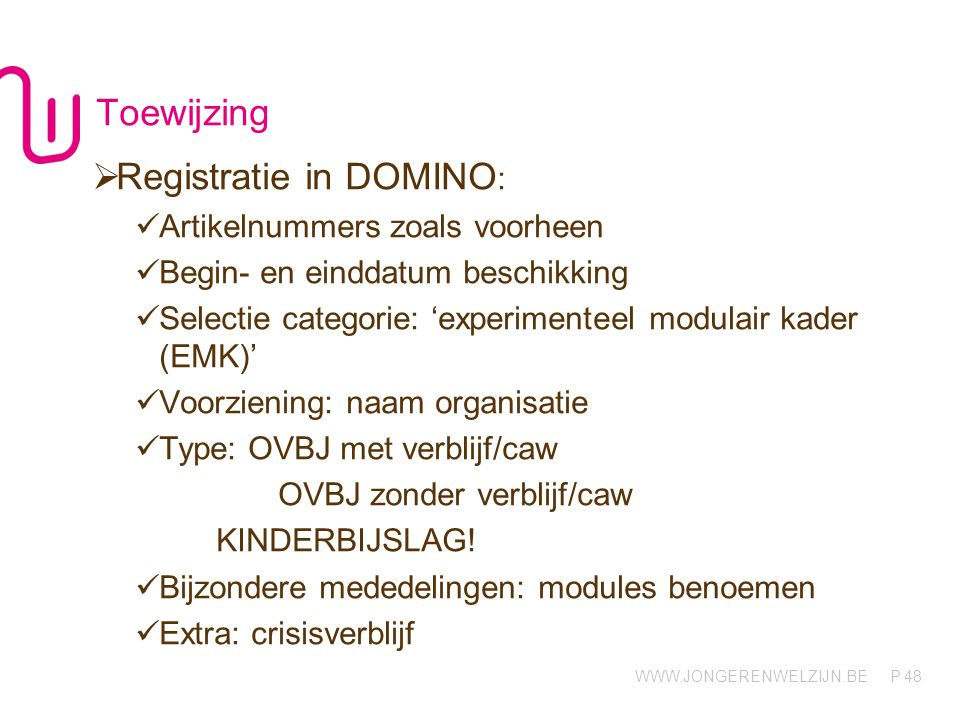 Registratie in DOMINO: