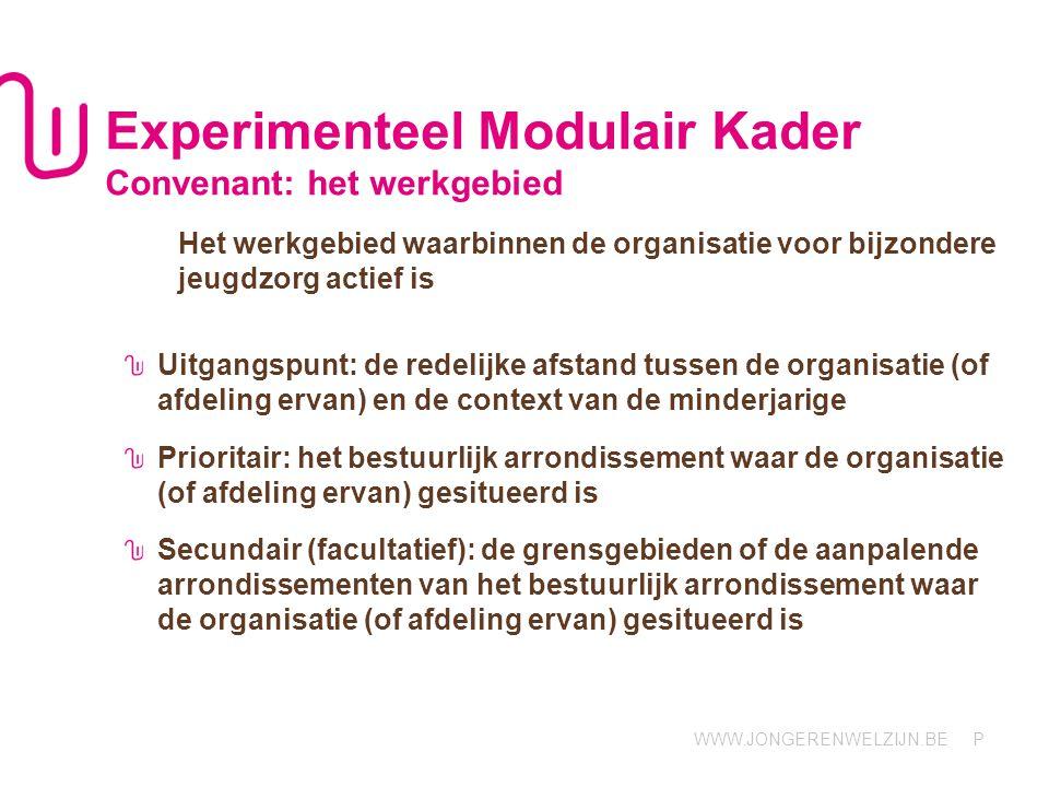 Experimenteel Modulair Kader Convenant: het werkgebied