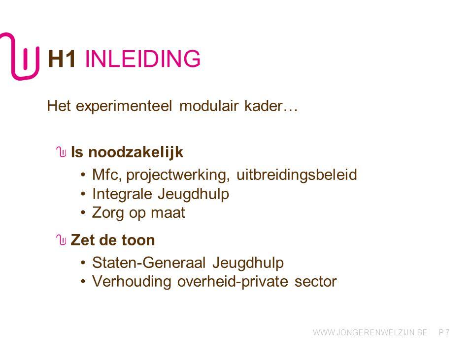 H1 INLEIDING Het experimenteel modulair kader… Is noodzakelijk