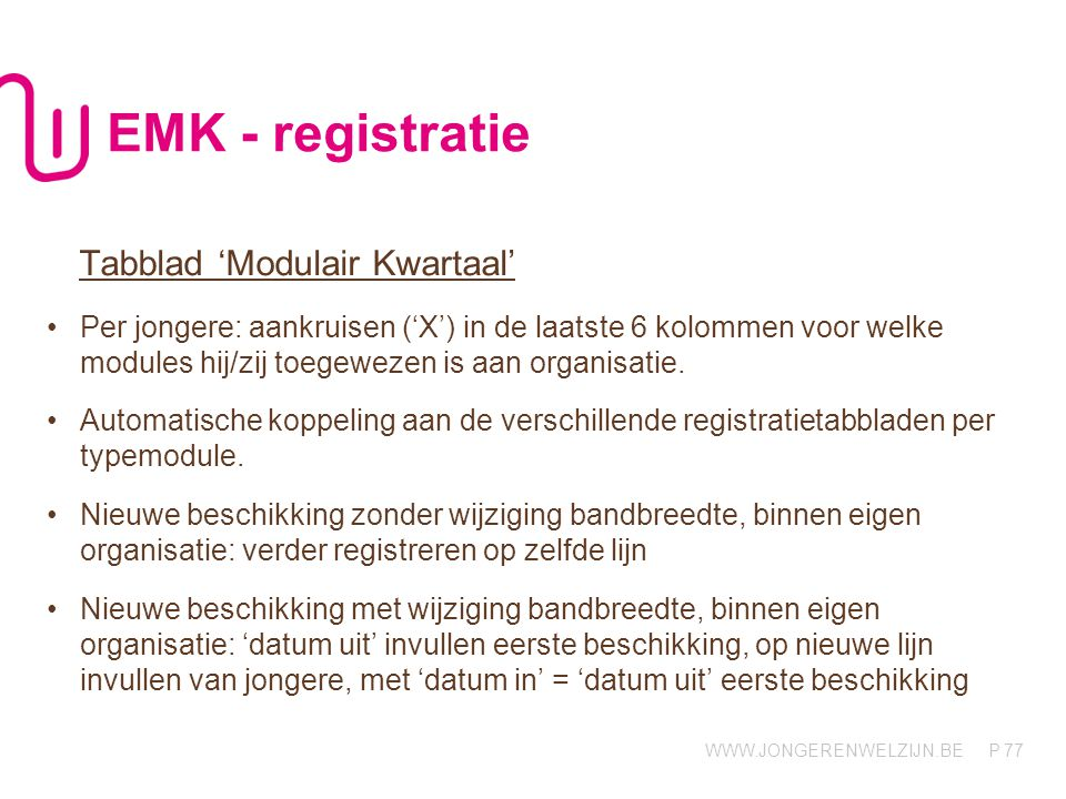 EMK - registratie Tabblad 'Modulair Kwartaal'