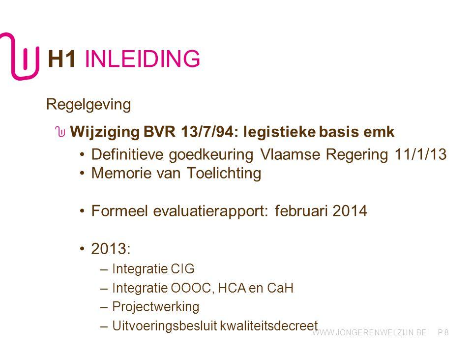 H1 INLEIDING Regelgeving Wijziging BVR 13/7/94: legistieke basis emk