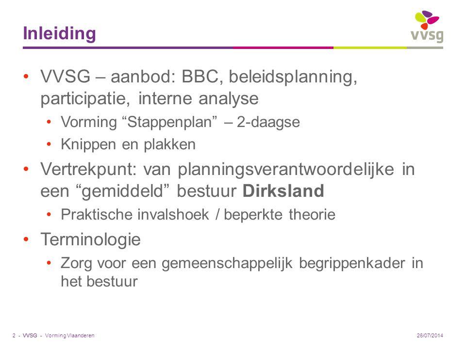 VVSG – aanbod: BBC, beleidsplanning, participatie, interne analyse