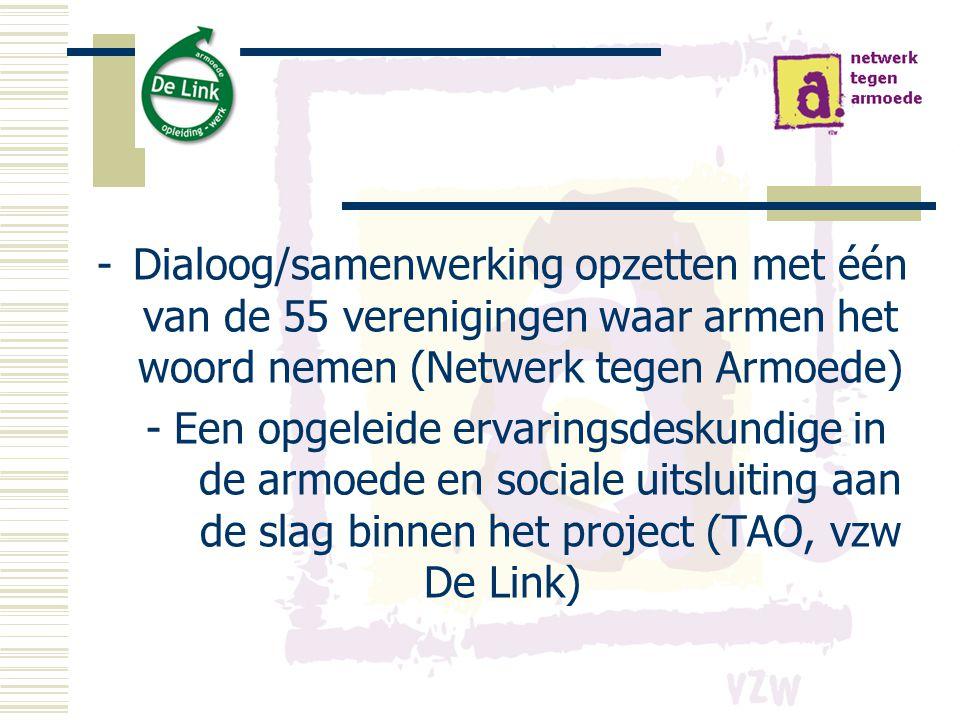 Dialoog/samenwerking opzetten met één van de 55 verenigingen waar armen het woord nemen (Netwerk tegen Armoede)