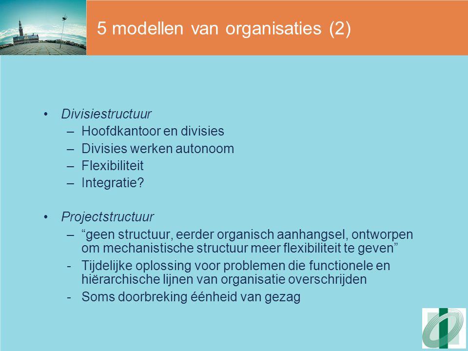 5 modellen van organisaties (2)