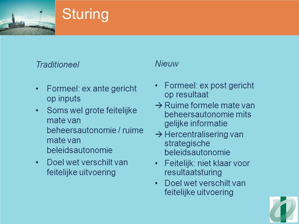 Sturing Traditioneel Formeel: ex ante gericht op inputs