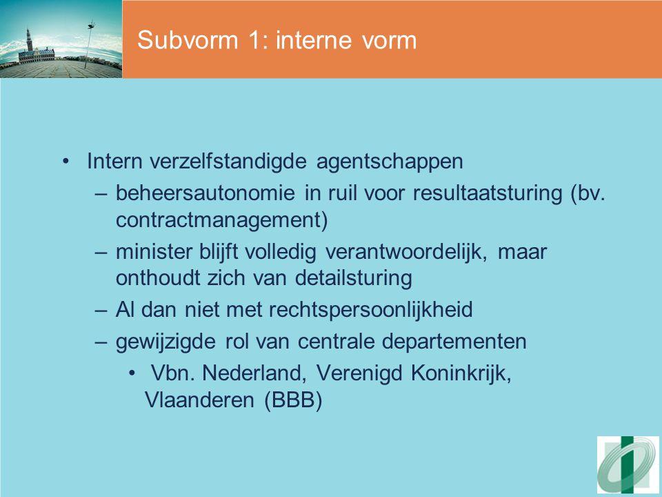 Subvorm 1: interne vorm Intern verzelfstandigde agentschappen