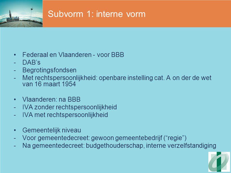 Subvorm 1: interne vorm Federaal en Vlaanderen - voor BBB DAB's