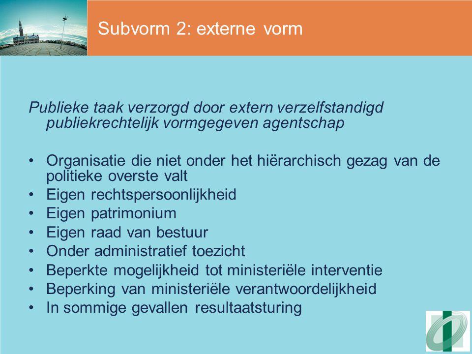 Subvorm 2: externe vorm Publieke taak verzorgd door extern verzelfstandigd publiekrechtelijk vormgegeven agentschap.