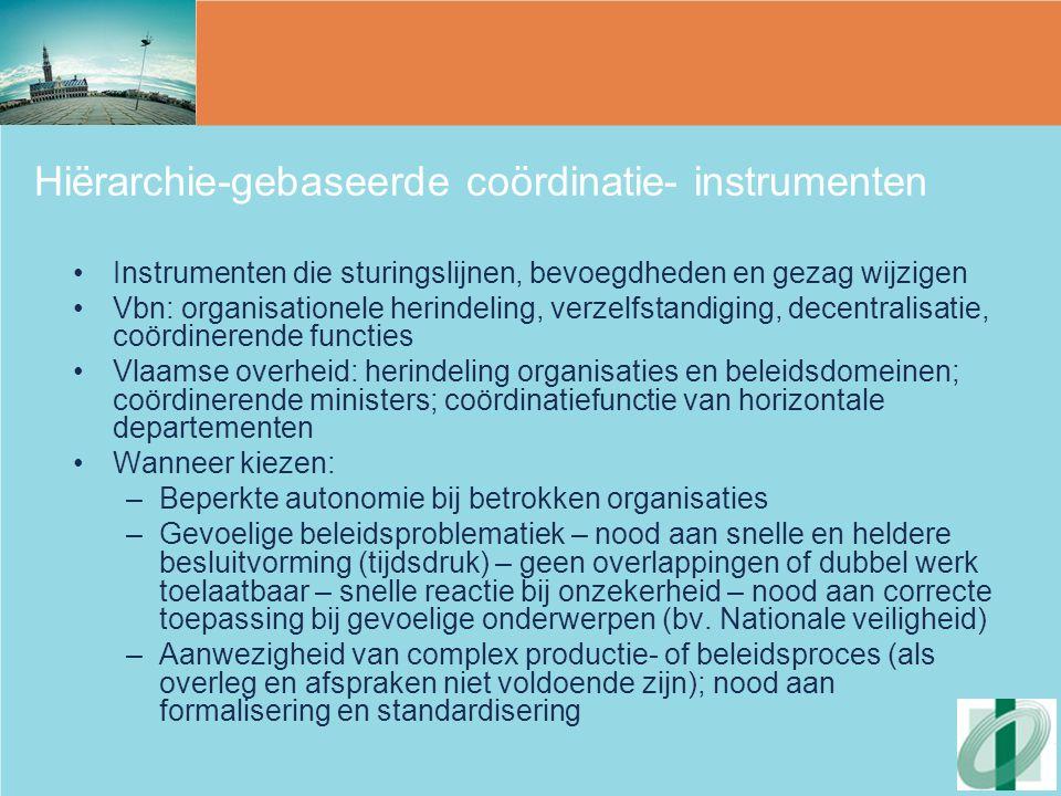 Hiërarchie-gebaseerde coördinatie- instrumenten