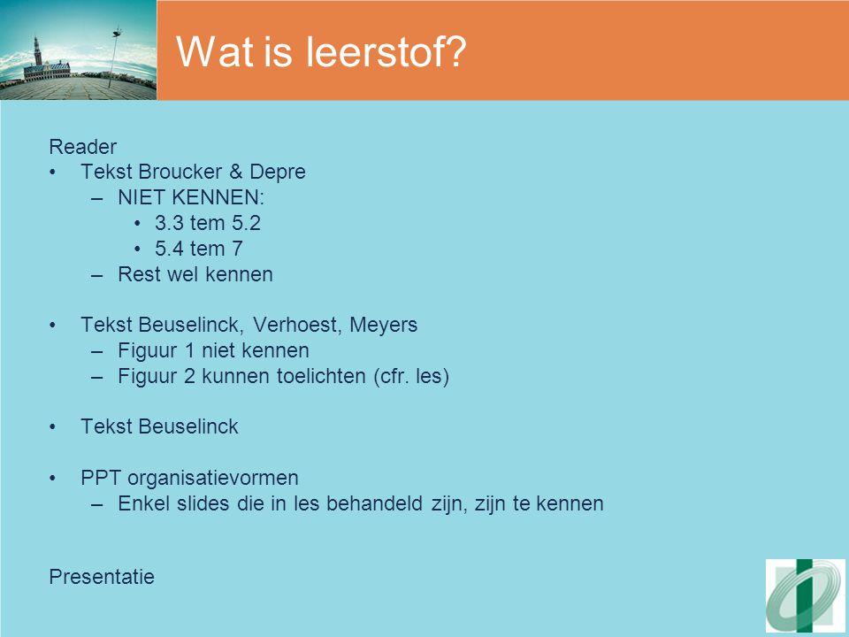 Wat is leerstof Reader Tekst Broucker & Depre NIET KENNEN: