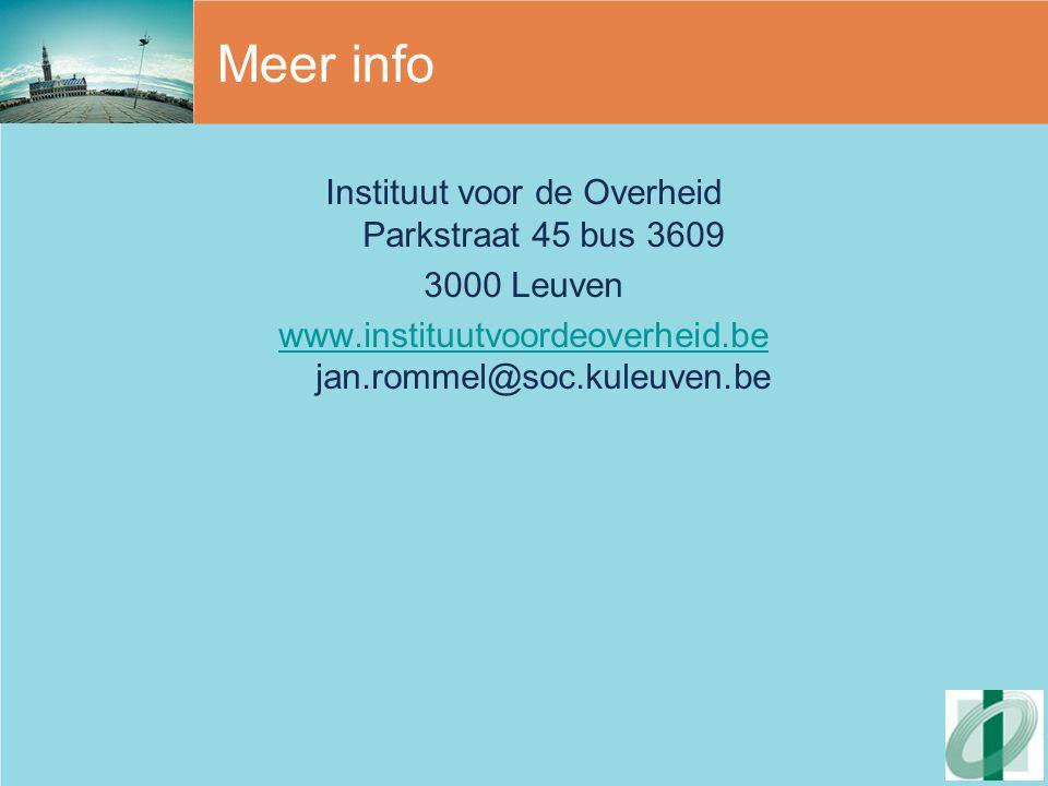 Meer info Instituut voor de Overheid Parkstraat 45 bus 3609