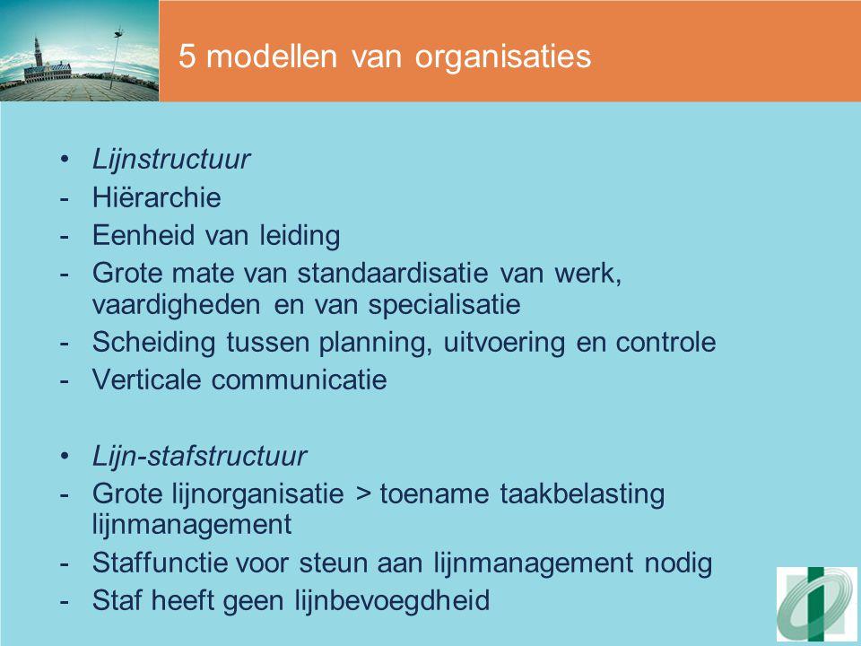 5 modellen van organisaties