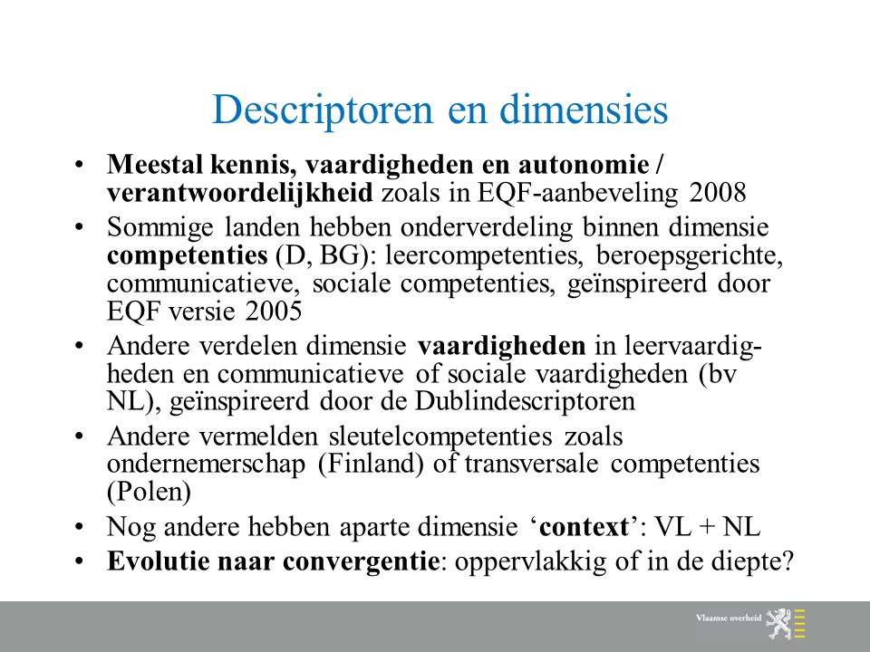 Descriptoren en dimensies